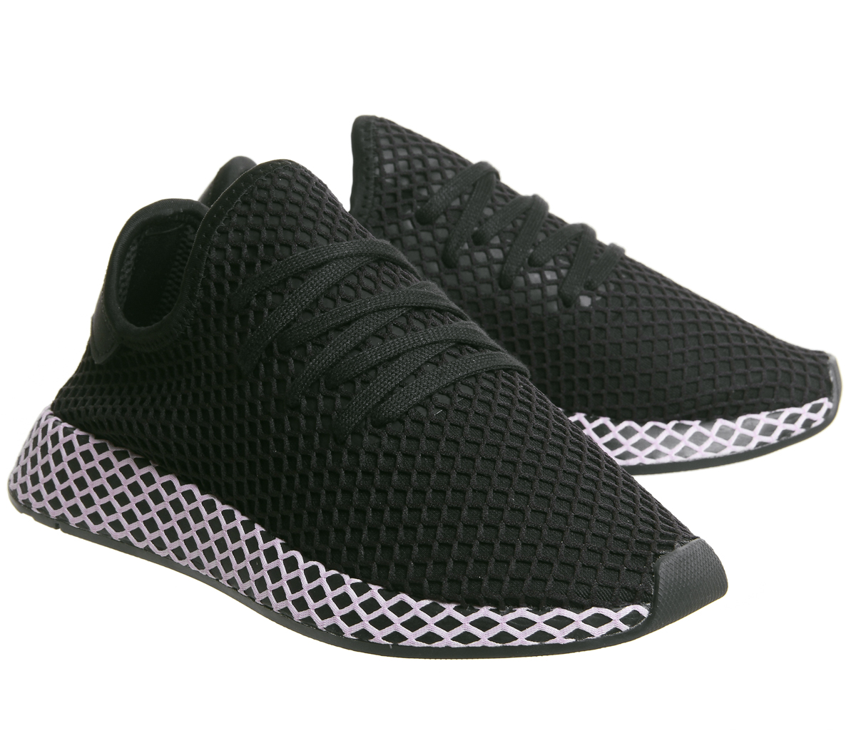6d8acbd175188 Womens Adidas Deerupt Trainers Core Black Clear Lilac F Trainers ...