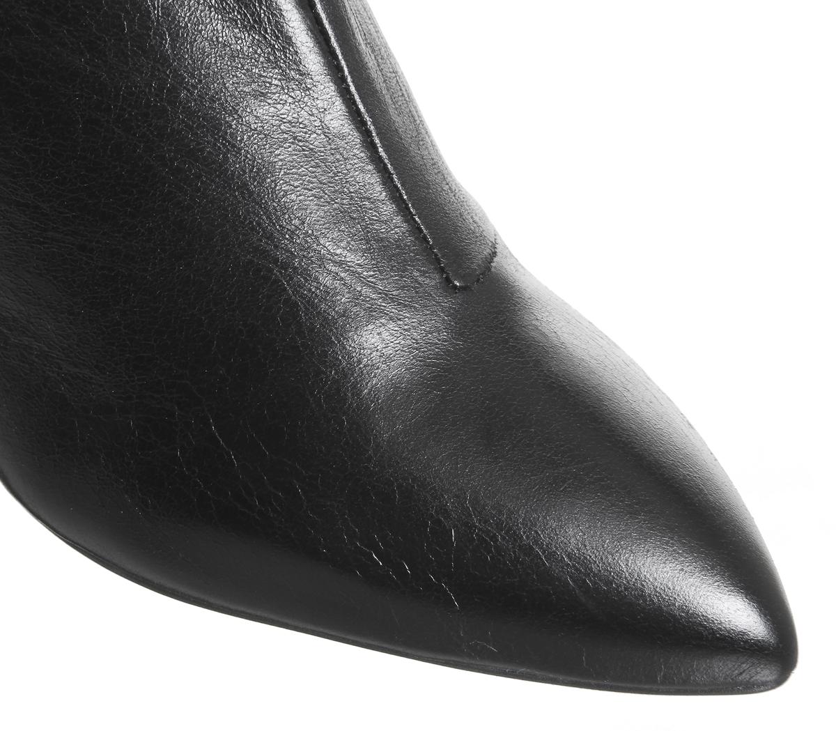 mujer negro Botas con curvo Office a tacón rodilla de cuero para Kosmo la wq4axAz