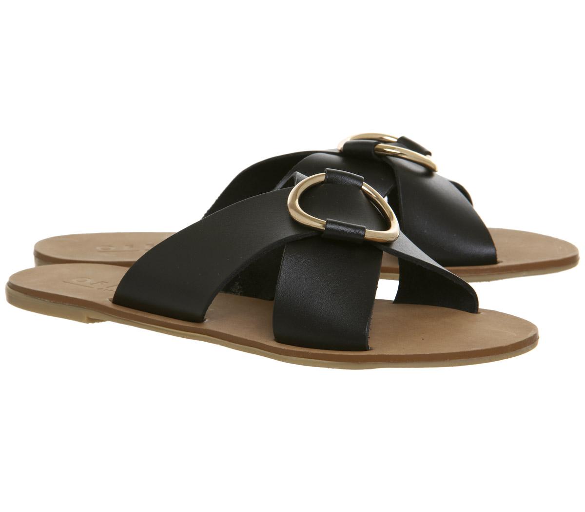 Damenschuhe Office Spirit Ring Detail Mule Sandales BLACK LEATHER GOLD RING Sandales