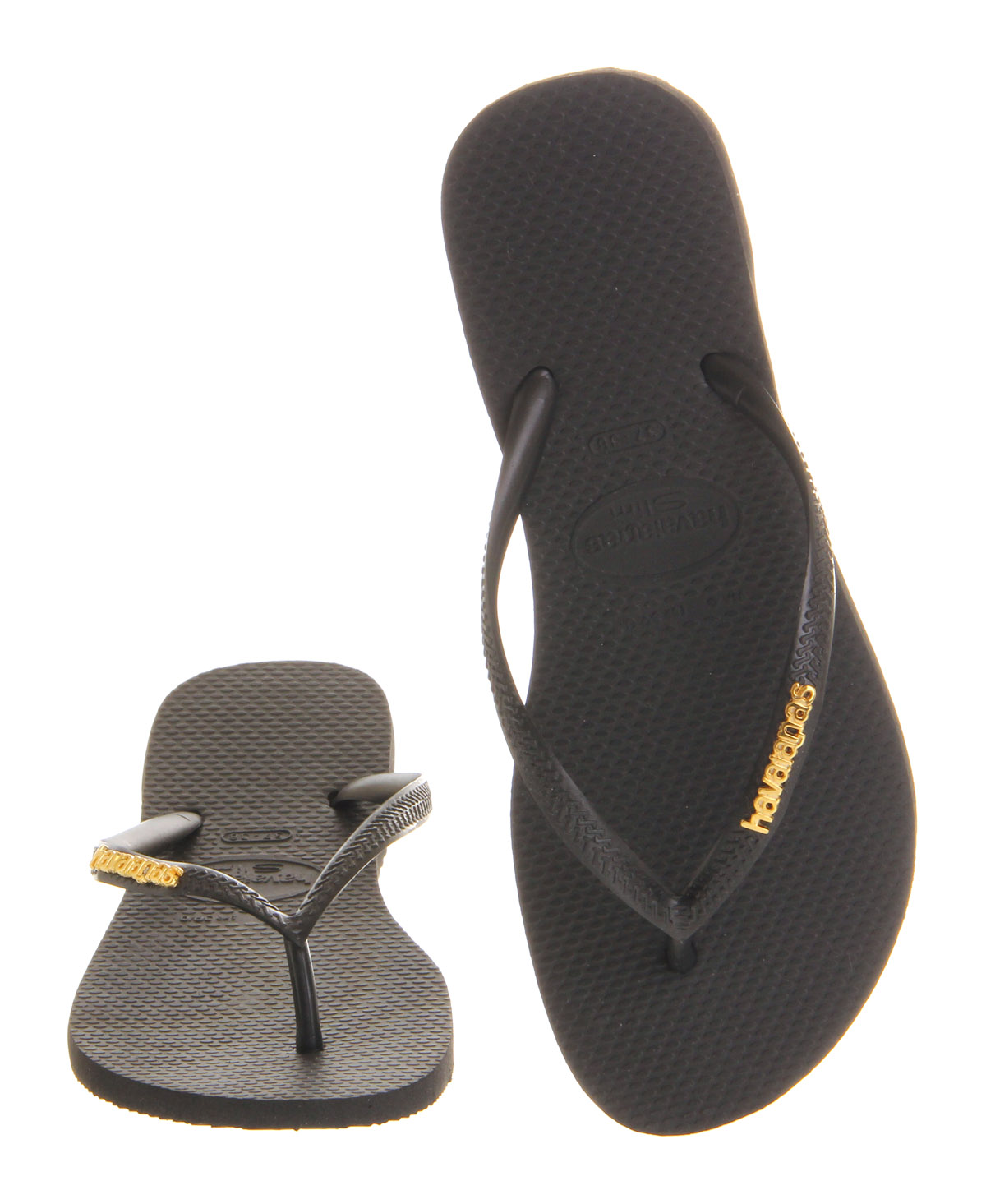 65e280614281 Womens Havaianas Slim Logo Metallic Smu BLACK GOLD Sandals