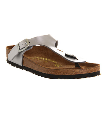 d7be78a617b6 Womens Birkenstock Gizeh Toe Thong Footbed Silver Syn Sandals