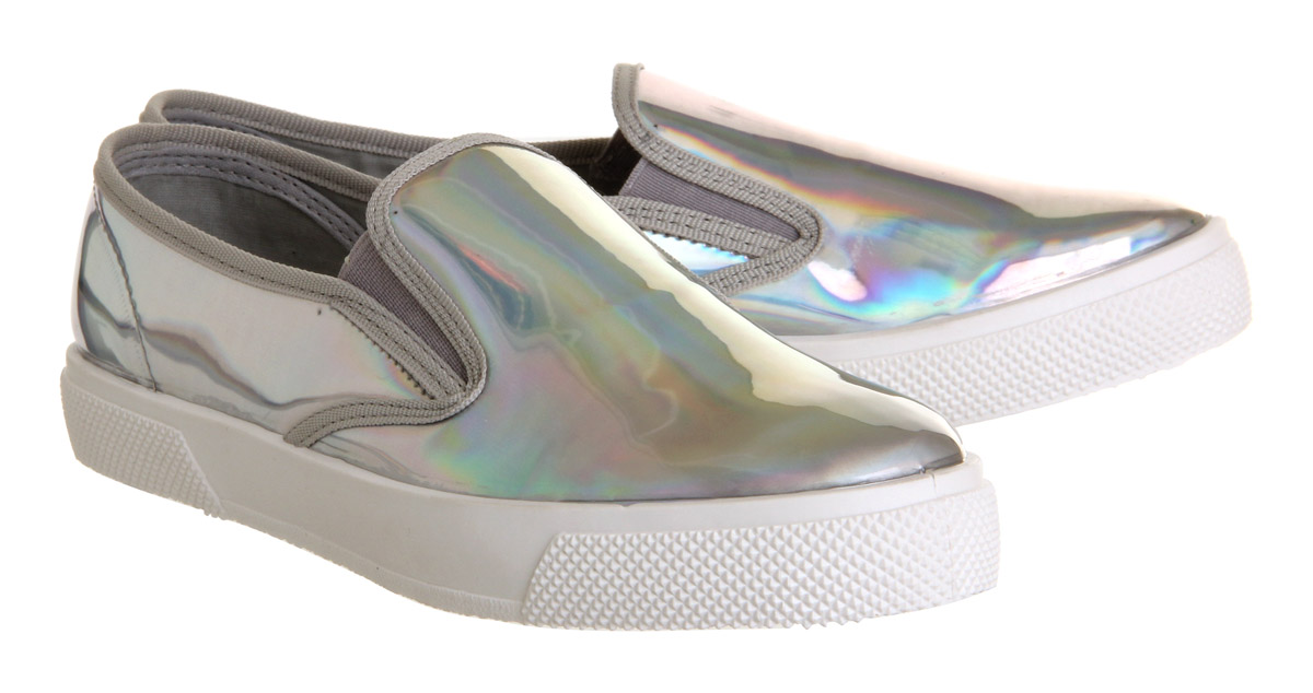 Womens-Office-Kicker-Slip-On-Shoes-Holographic-Flats