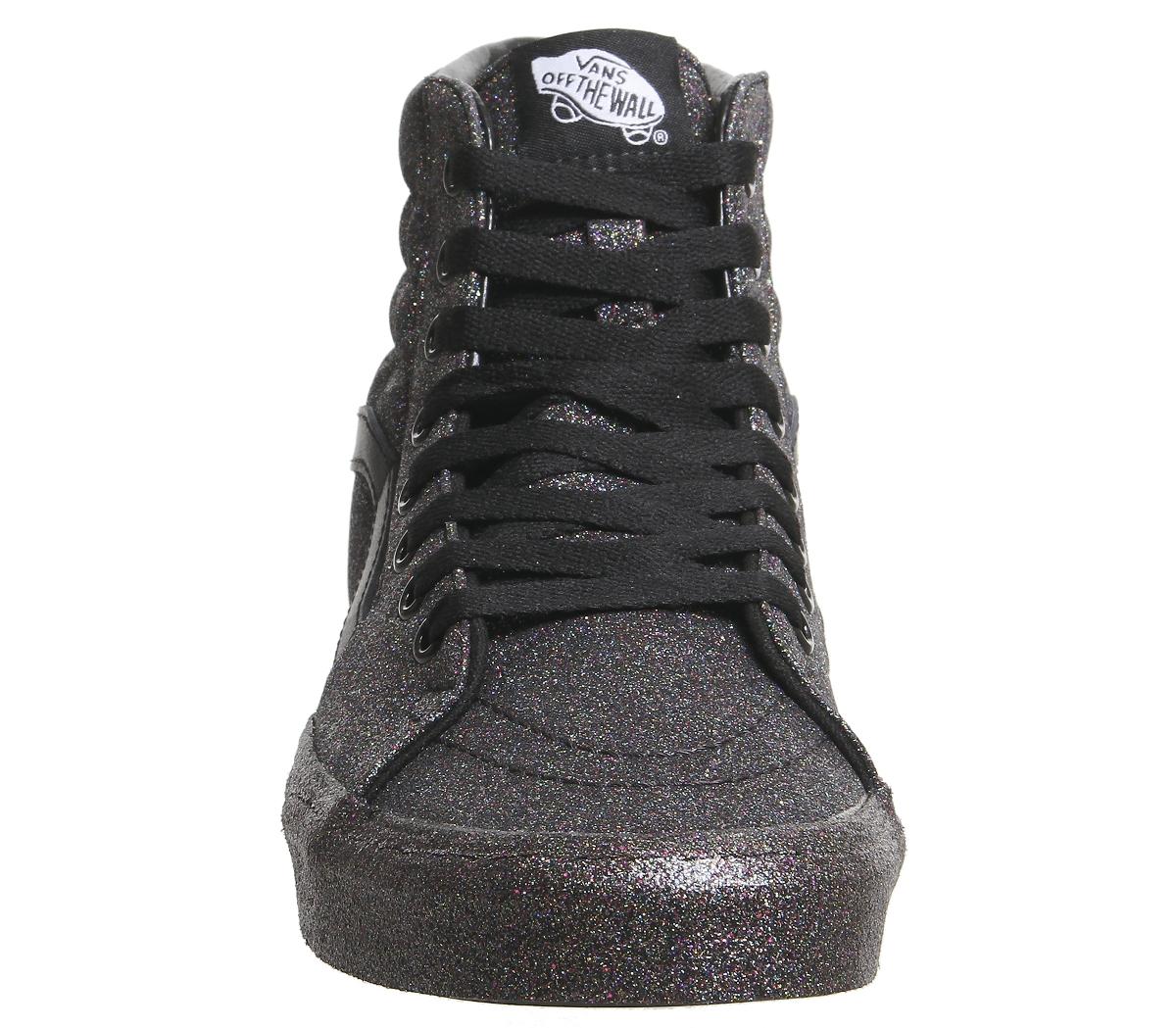 9c2b09eb7cd0de Sentinel Womens Vans Sk8 Hi Trainers Black Black Rainbow Glitter Trainers  Shoes