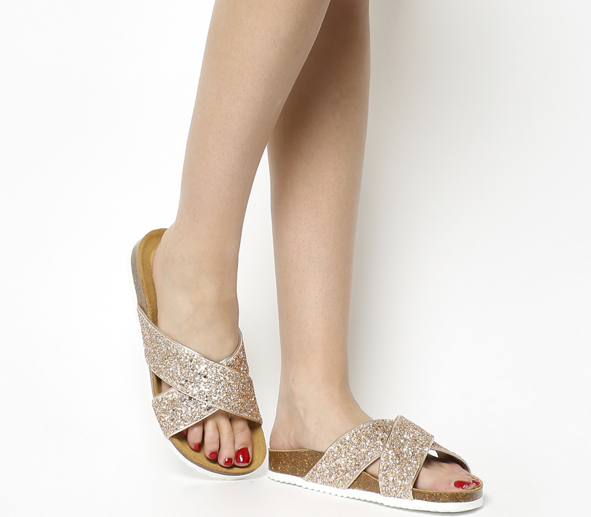 e448ebd18 Sentinel Womens Office Hoxton 2 Sandals ROSE GOLD GLITTER Sandals