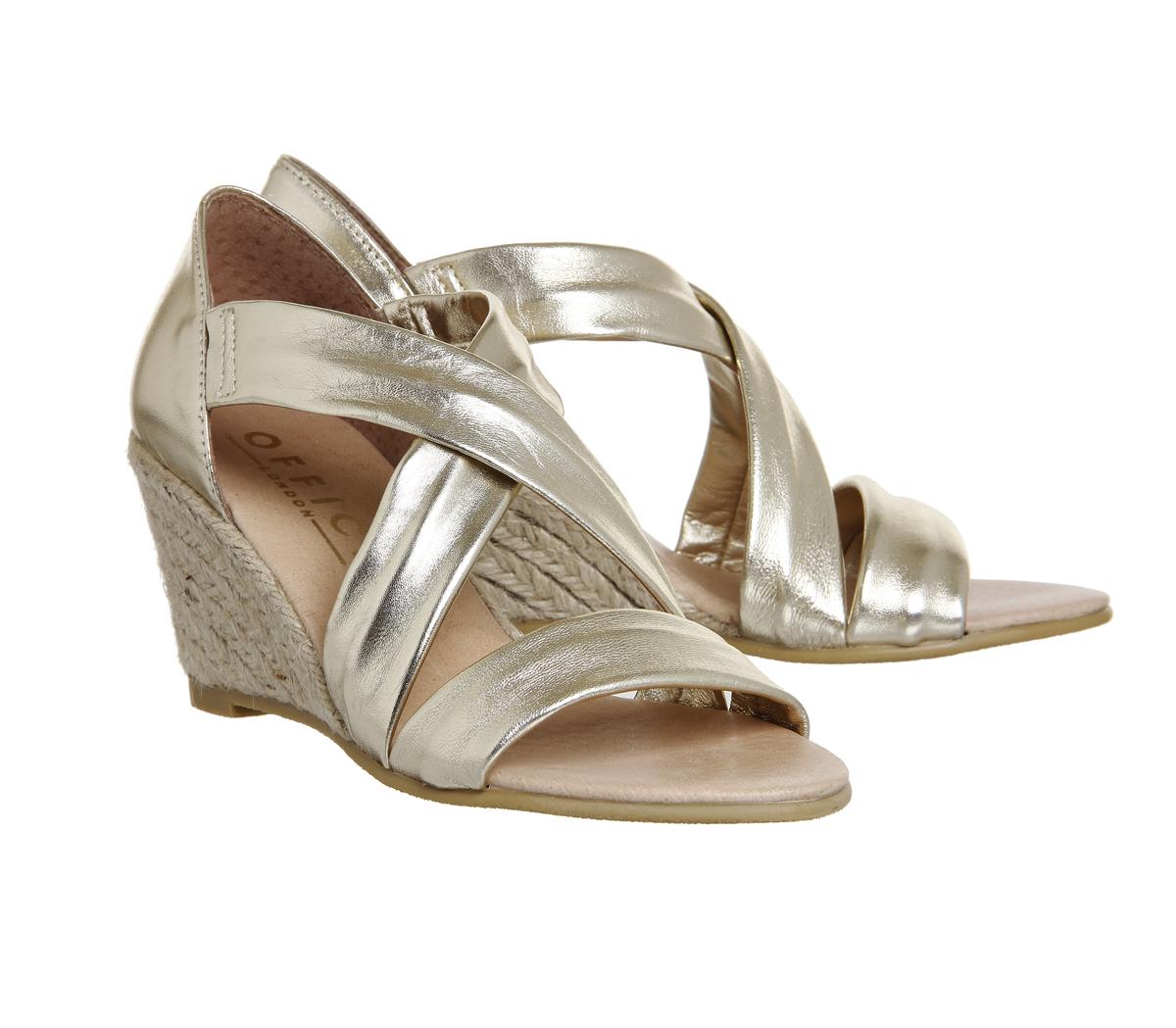 damen Office Maiden Cross Strap Wedges Gold Metallic Leather Heels Heels Heels  | Exquisite Verarbeitung  203769