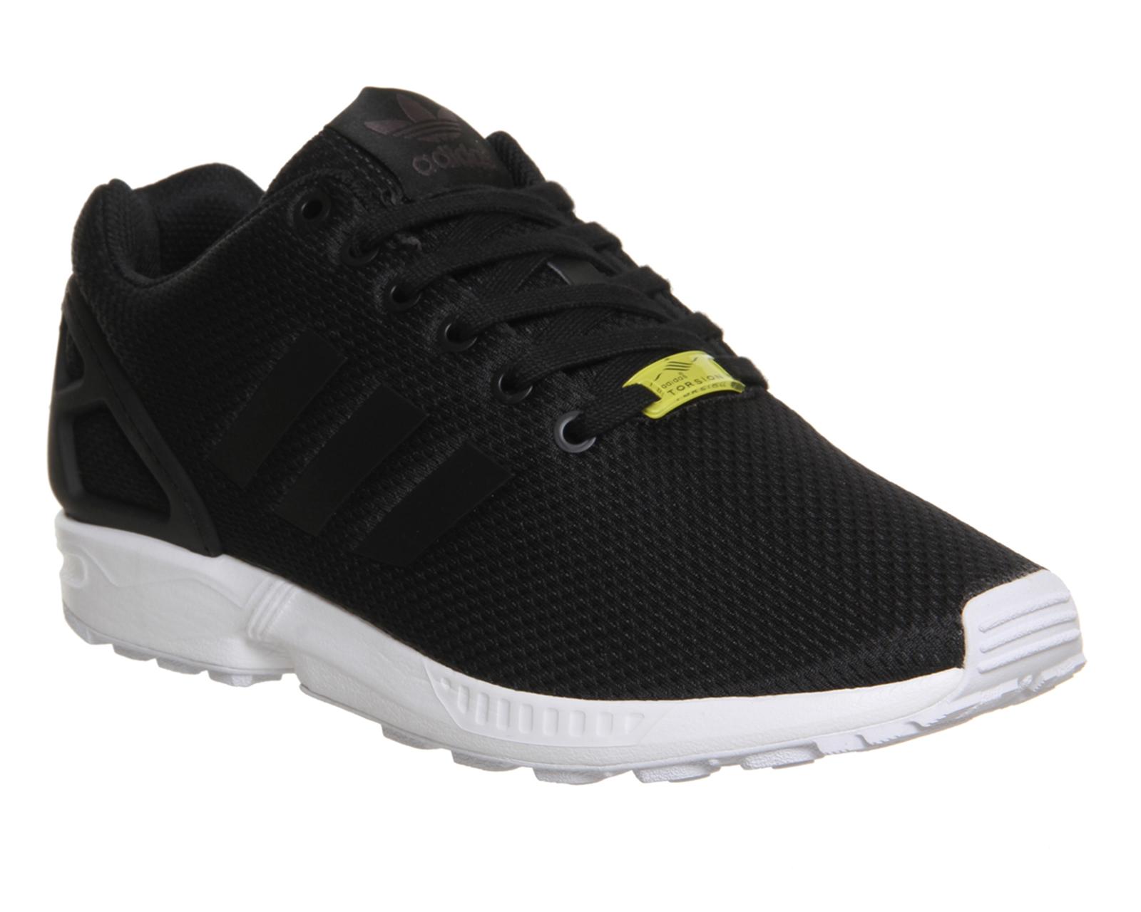 6d8e425d4681 Sentinel Mens Adidas Zx Flux BLACK WHITE Trainers Shoes