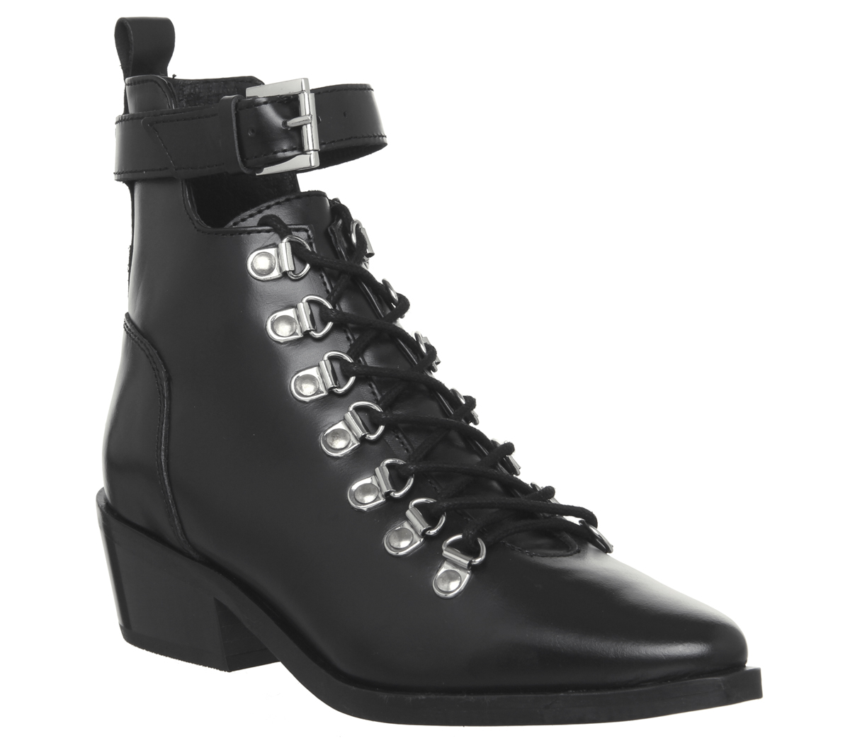 Womens-Office-Apocalypse-Lace-Detail-Point-Boots-Black-Leather-Boots thumbnail 3