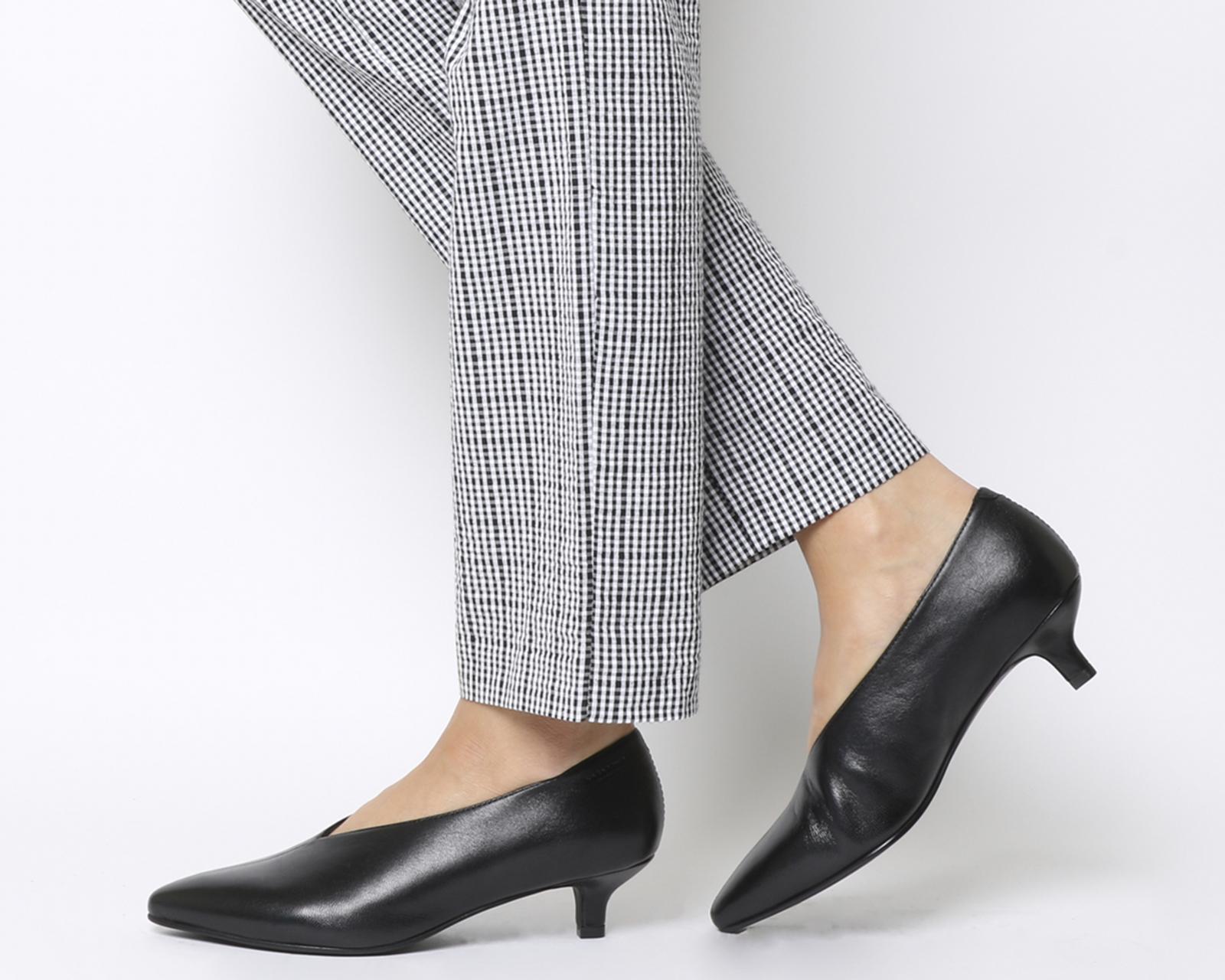 bc795ec6e61 Details about Womens Vagabond Minna Low Heels Black Leather Heels