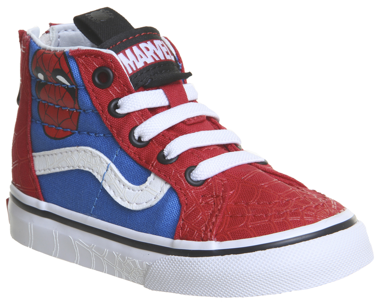 63e5e6a79fc Détails sur Kids VANS Sk8 Hi Zip Toddlers Spiderman Vrai Blanc MARVEL KIDS-  afficher le titre d origine
