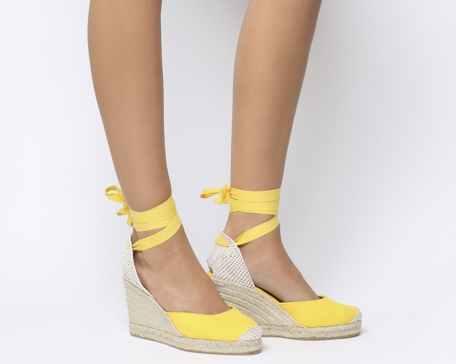 c17bf6c57f7 Details about Womens Office Marmalade Espadrille Wedges Yellow Canvas Heels