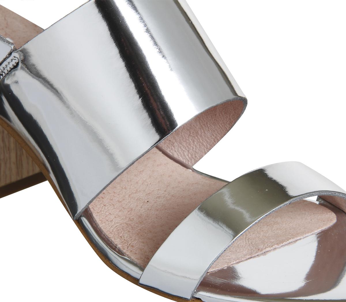 Damenschuhe Office Meadow Block Heel Heel Block Slingback Sandales Silver Mirror Heels 2a8179