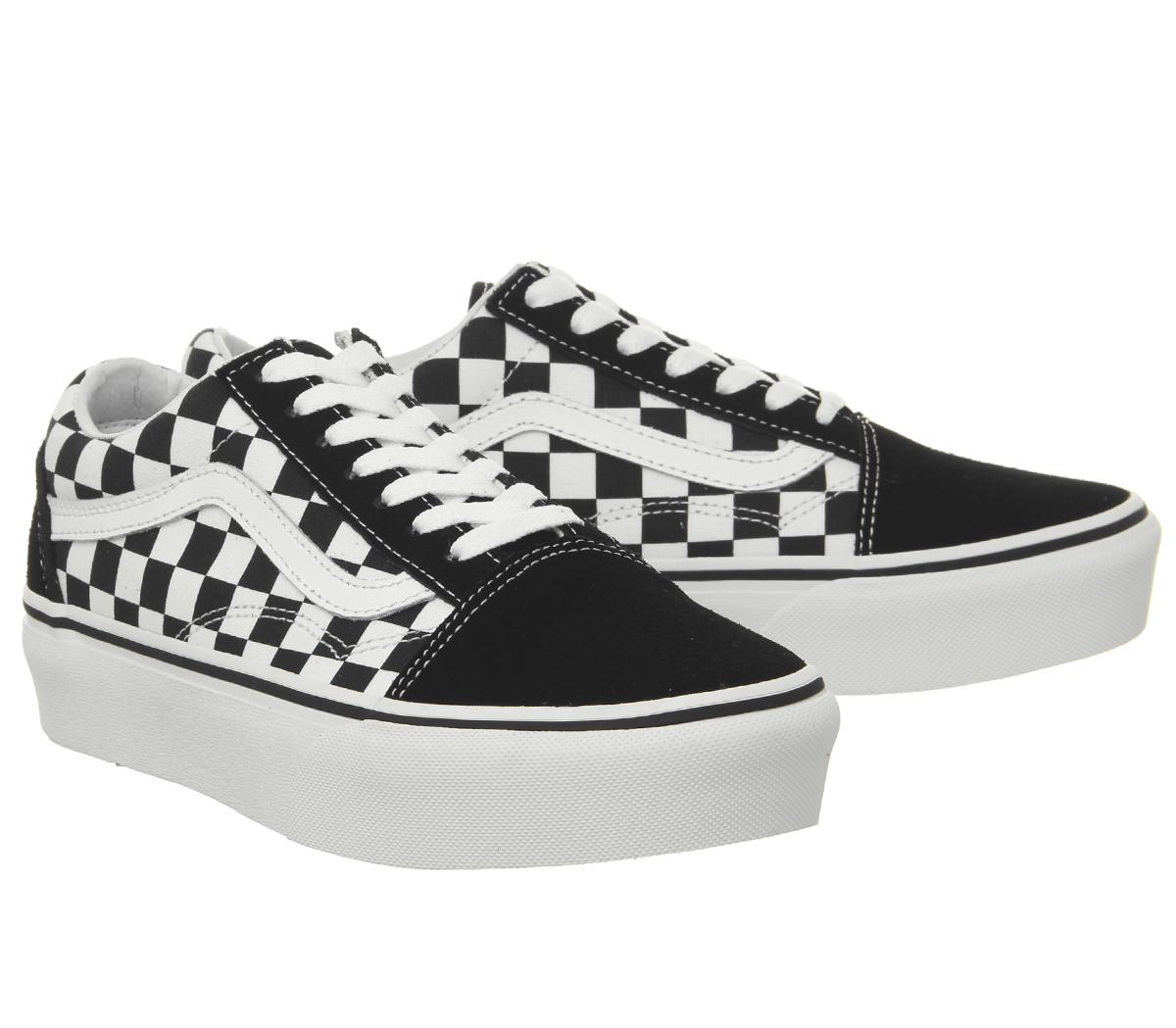 48d86b03d2 Womens Vans Old Skool Platform Trainers Black Checkerboard True ...