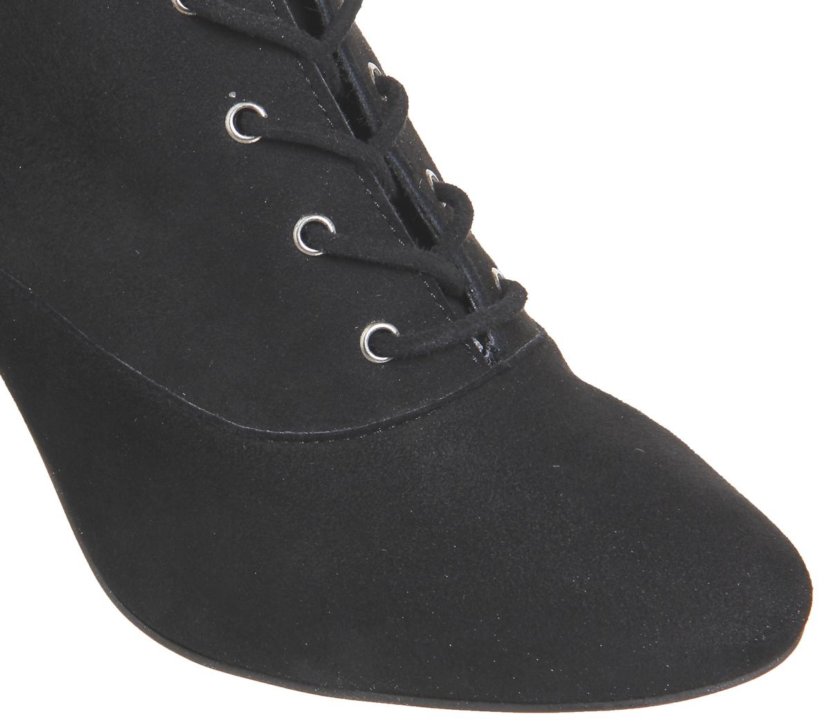 Mujer Zapatos De Tacón Bloque Con Cordones Negro Aroma De Oficina Negro Cordones Botas De Gamuza 2aca24