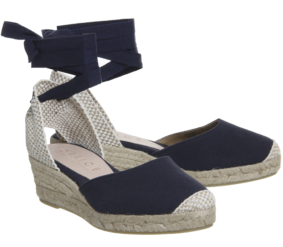 Navy Up Two Mini Office Womens Canvas Espadrilles Heels Part Tie tqwxfv1