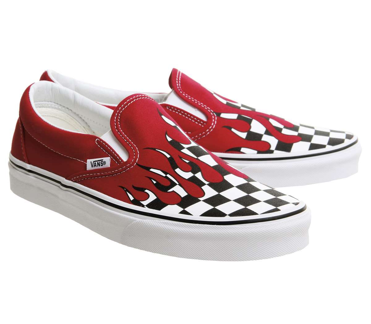 Sentinel Mens Vans Vans Classic Slip On Trainers Racing Red Checkerboard  Flame Trainers S 6805eee4a