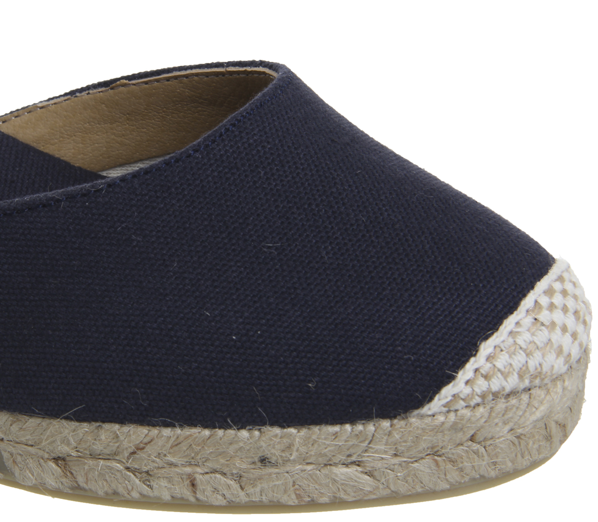 Womens-Office-Mini-Tie-Up-Two-Part-Espadrilles-Navy-Canvas-Heels