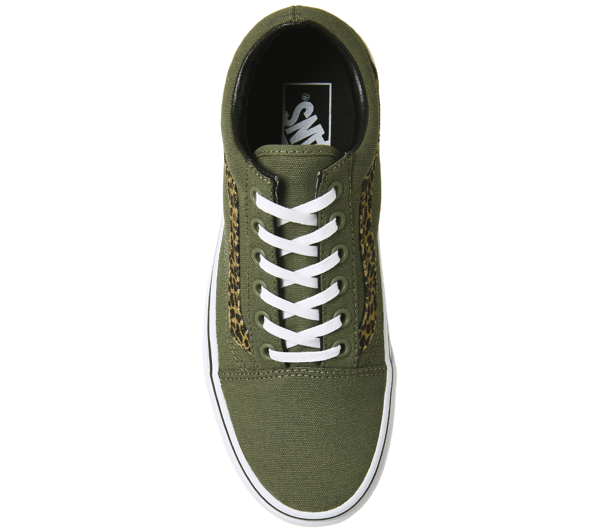2073b3e2a0633a Womens Vans Old Skool Trainers MINI LEOPARD ARMY GREEN WHITE ...