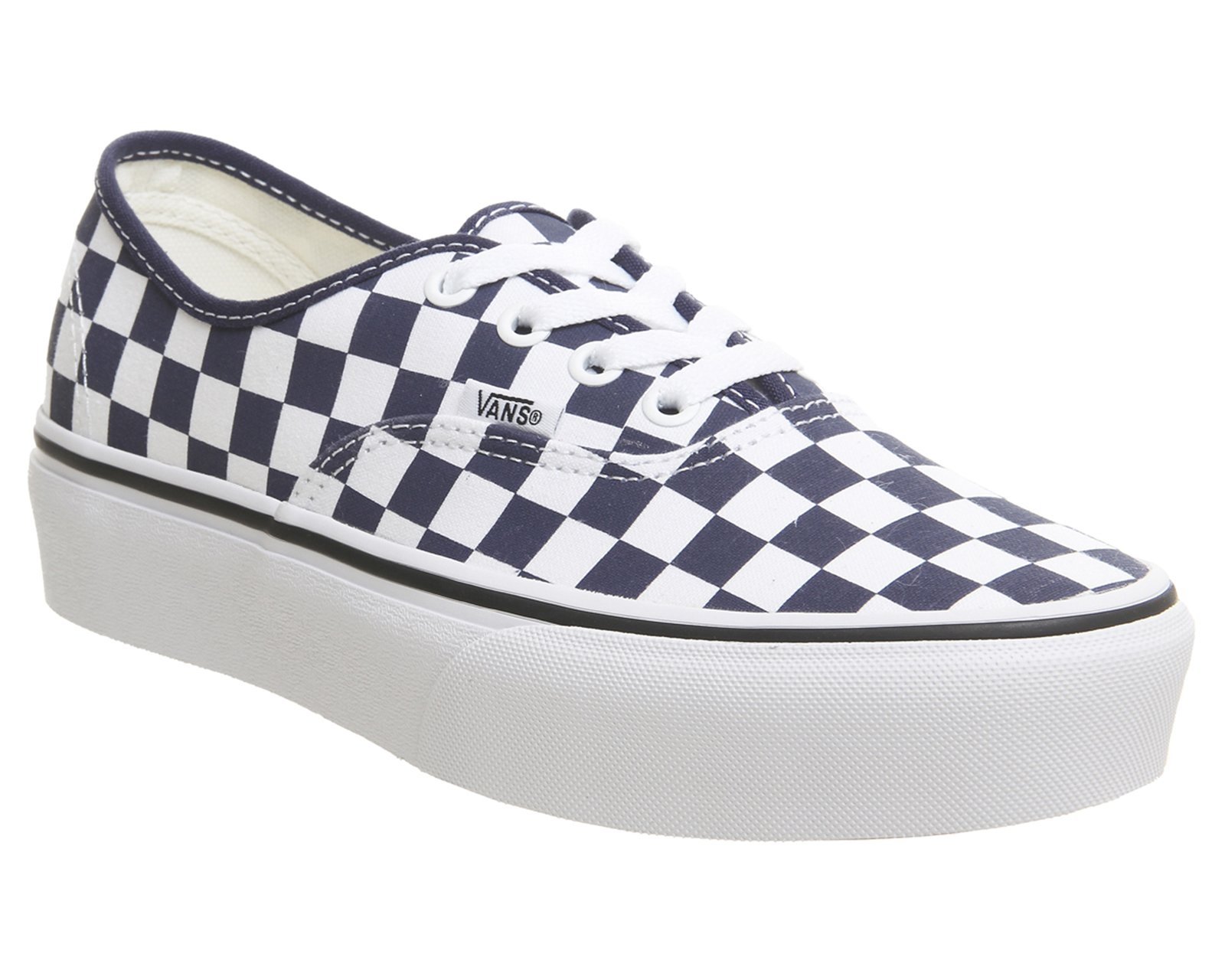 Sentinel Womens Vans Authentic Platforms Medieval Blue True White  Checkerboard Trainers S 45b474e66167