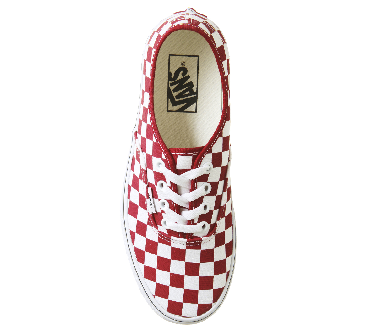 47335a0177 Womens Vans Authentic Platforms Racing Red True White Checkerboard ...