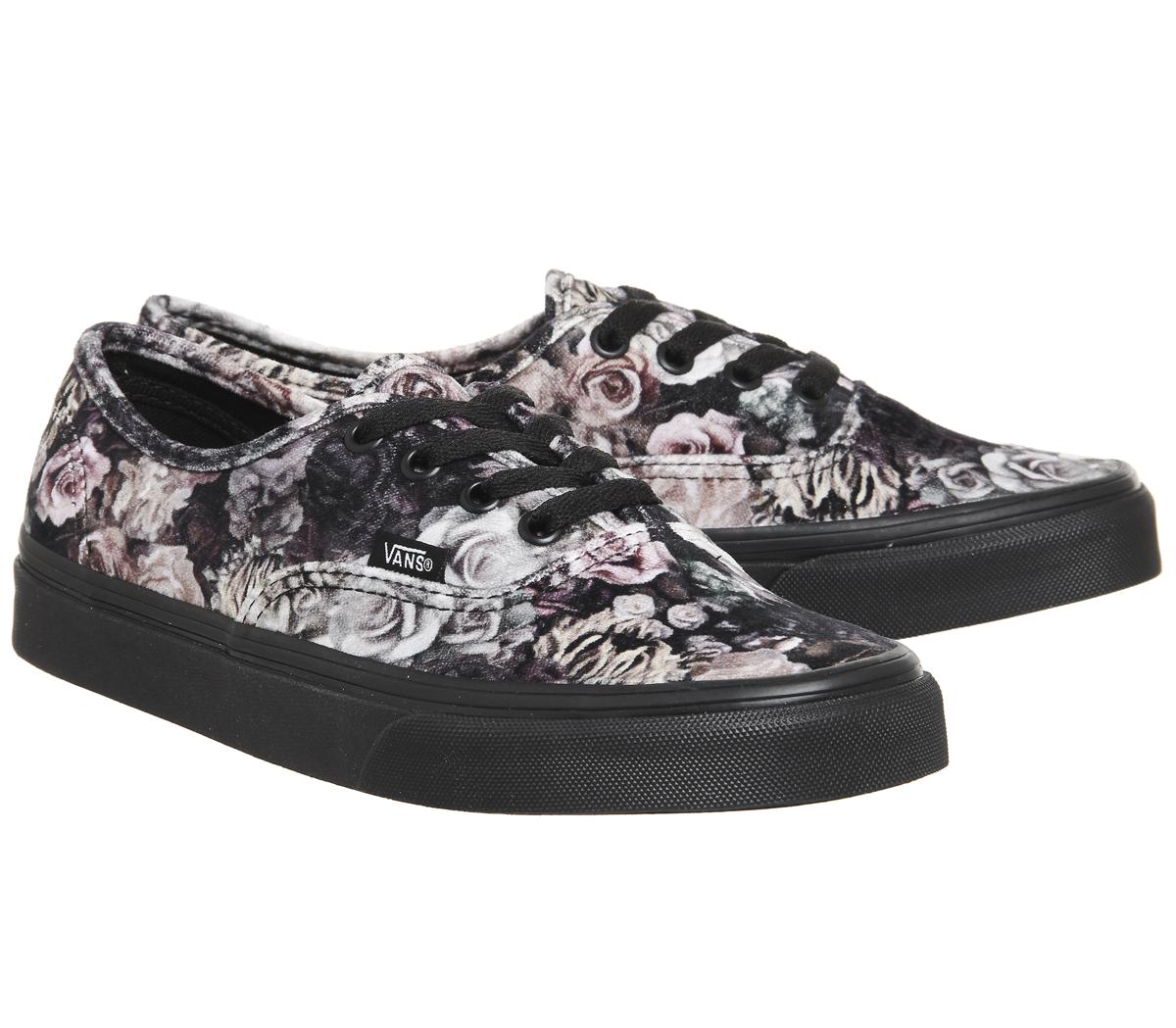 5bd718cbaa Womens Vans Authentic Trainers VELVET FLORAL BLACK Trainers Shoes
