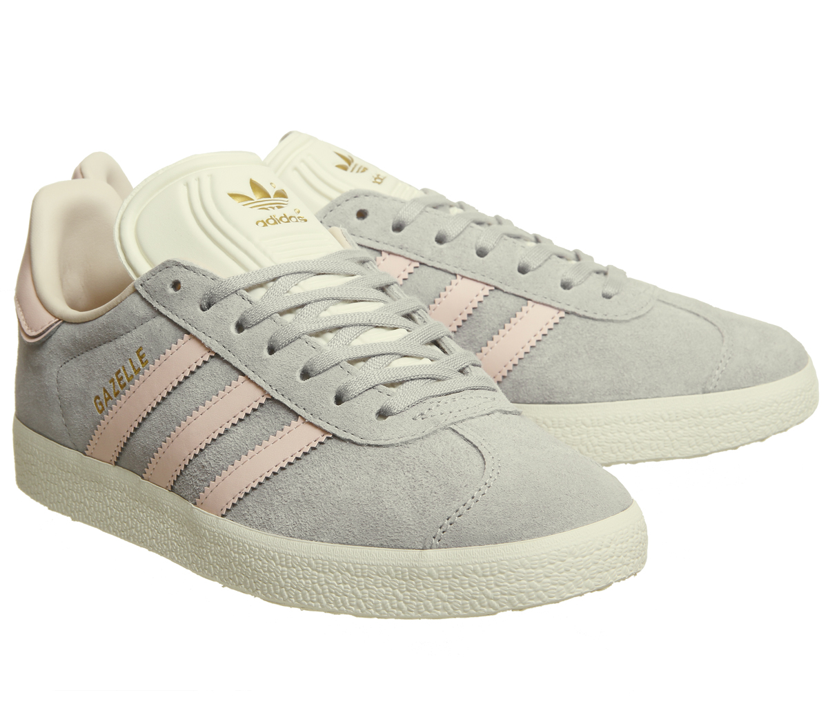 Womens Adidas Gazelle Trainers Grey Two Icey Pink Cream White ... 7aebfeb3354a