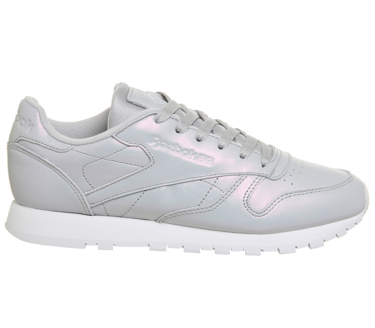 Sentinel Womens Reebok Cl Leather Trainers GREY PEARLISED Trainers Shoes ac2b96dc2ea6