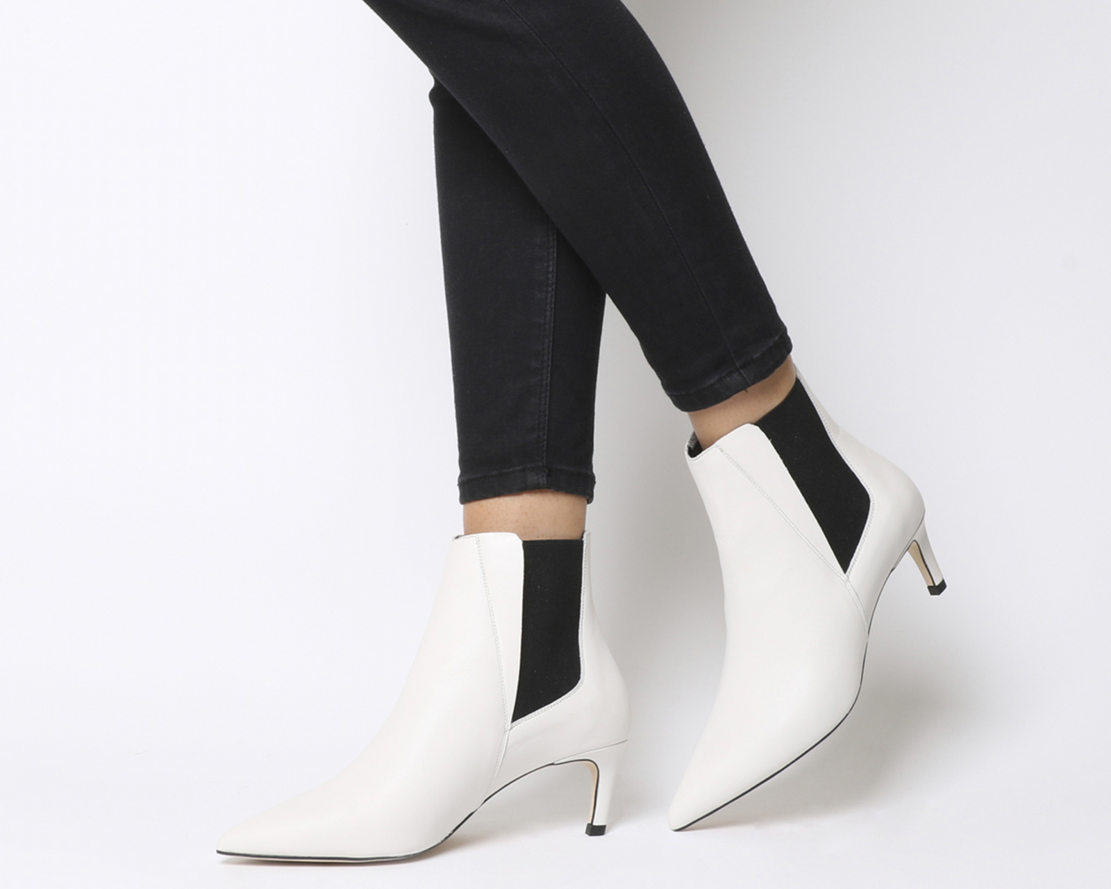 e1de11250f3 Sentinel Womens Office Attire Kitten Heel Chelsea Boots White Leather Boots