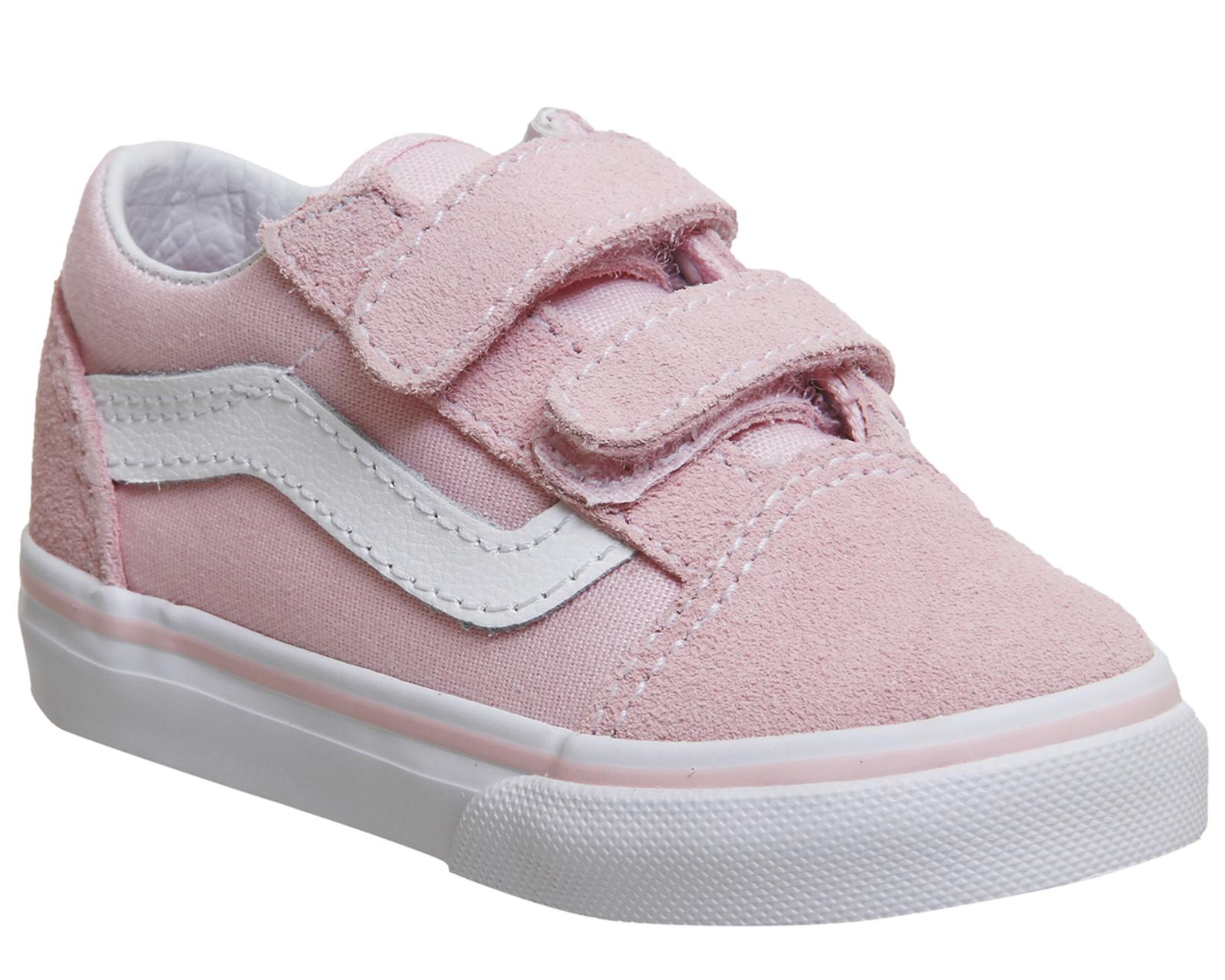 Kids Vans Pink Canvas Strap Trainers Uk Size 4 Infant Ex Display