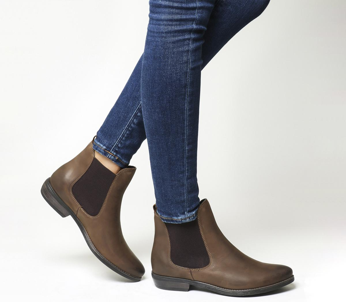 Womens Office Dallas 2 Chelsea Boots BROWN LEATHER Boots ...