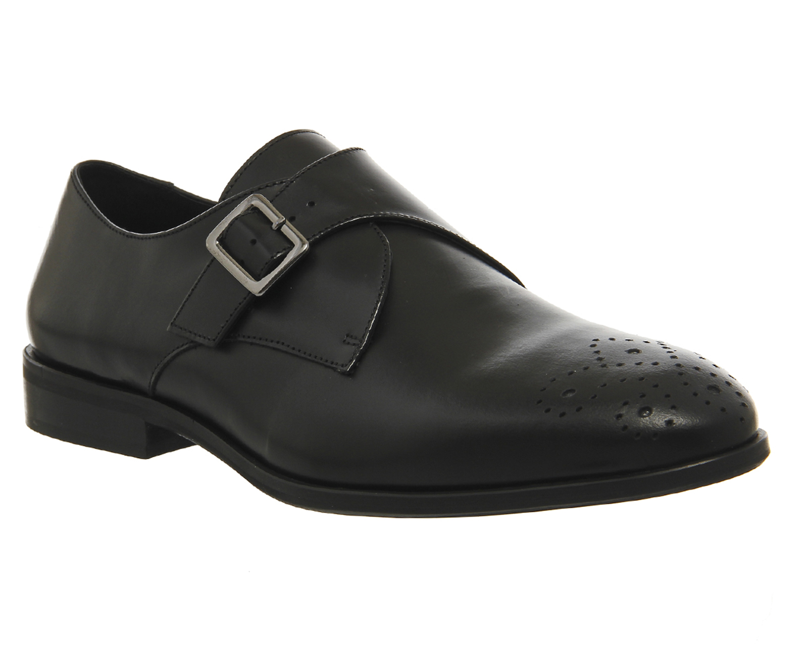 Mens Ask the Missus Black Leather Buckle Formal Shoes UK Size 9 *Ex Display