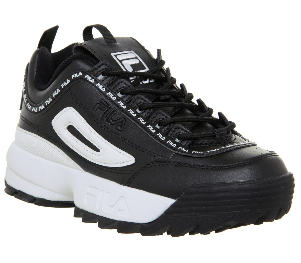 420c39337aab Sentinel Womens Fila Black Leather Lace-up Trainers Size UK 3  Ex-Display