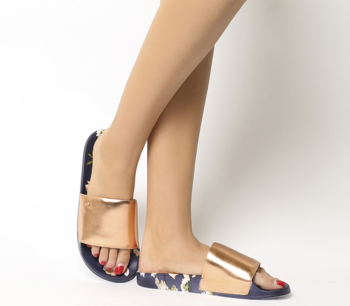 31ea036b0 Sentinel Womens Ted Baker Navy Blue Synthetic Slip On Sandals Size UK 6  Ex- Display