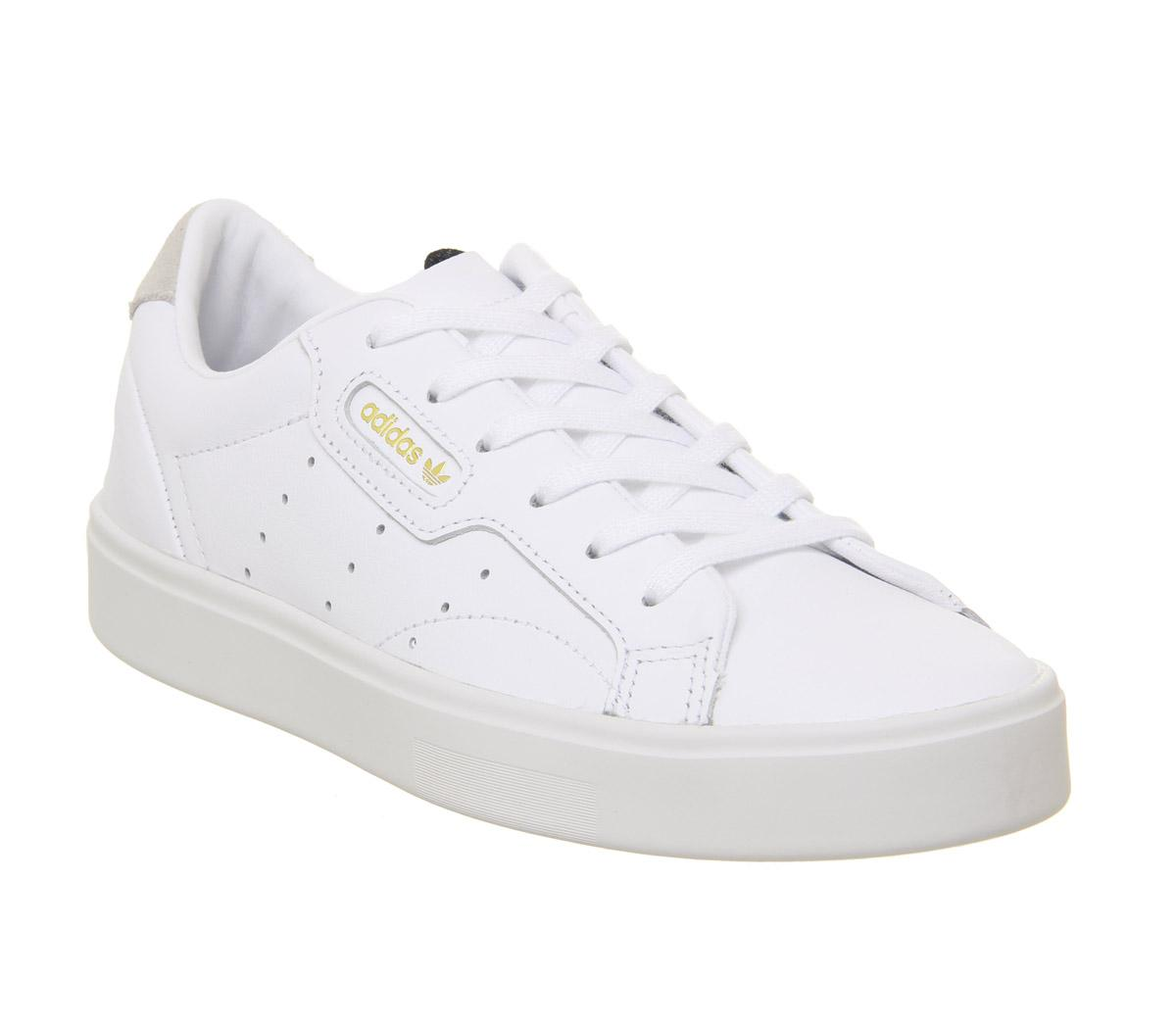 Womens Adidas White Leather Lace Up Trainers Size UK 6 *Ex