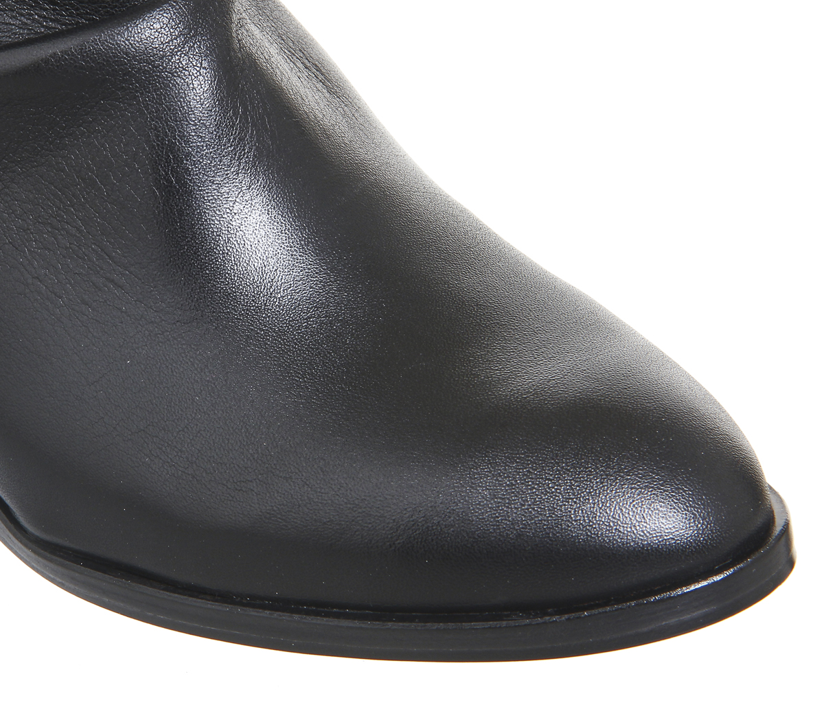 Damenschuhe Office Almond Ruched Ankle Stiefel BLACK LEATHER Stiefel