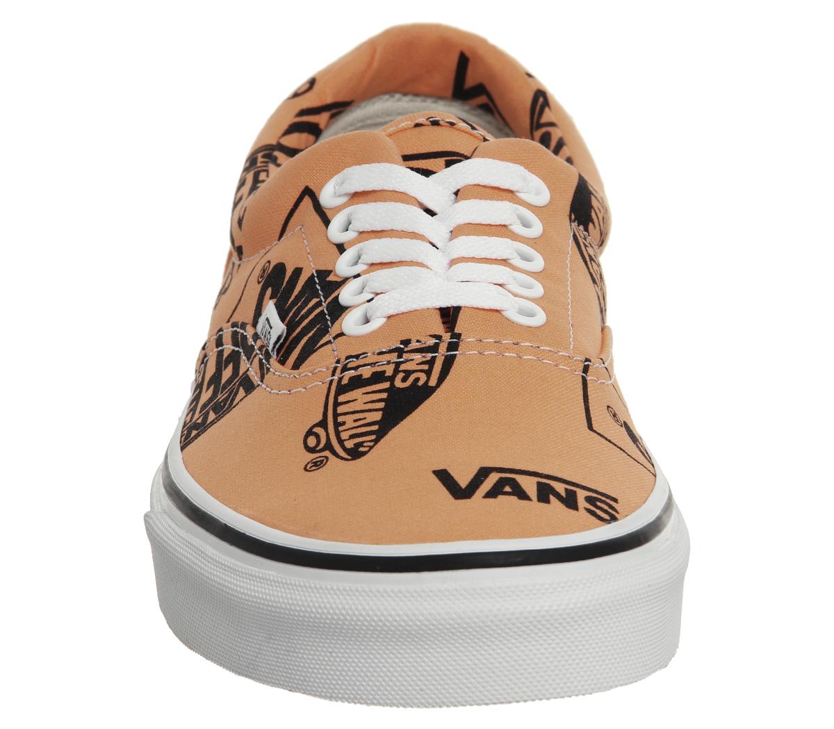 52ddda245ef0 Mens Vans Era Trainers Tangerine Black Logo Trainers Shoes
