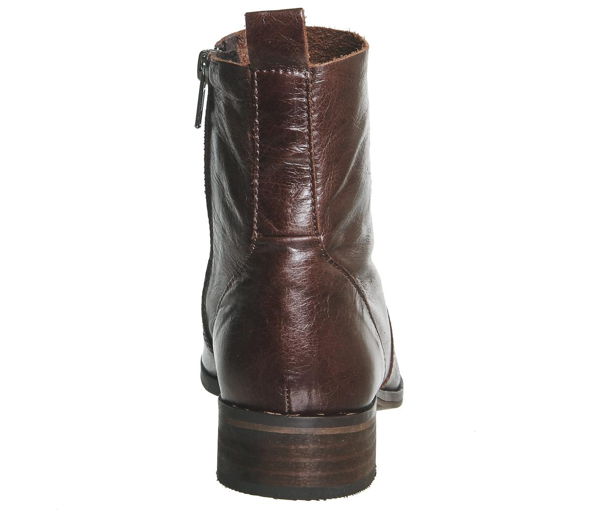 Damenschuhe Stiefel Office Ashleigh Flat Ankle Stiefel Damenschuhe BROWN LEATHER Stiefel 6681e7