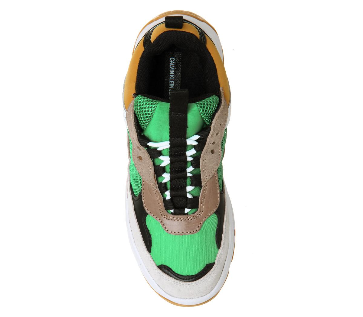 Womens Calvin YELLOW Klein Maya Trainers GREEN YELLOW Calvin WHITE Trainers Shoes 1e2cc8