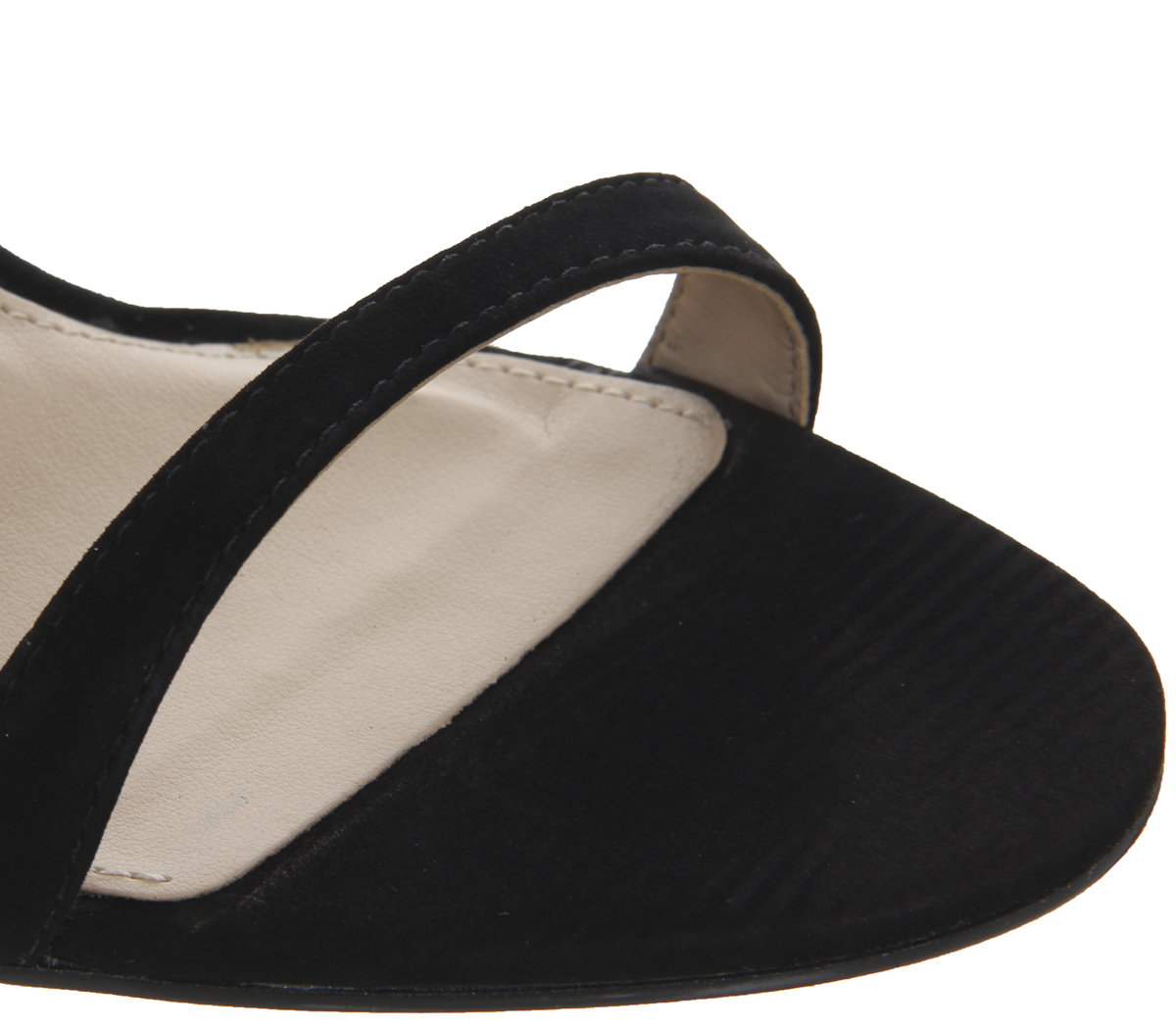 3e6ed6f2f64 Details about Womens Office Happy Metal Heel Sandals Black Nubuck Heels