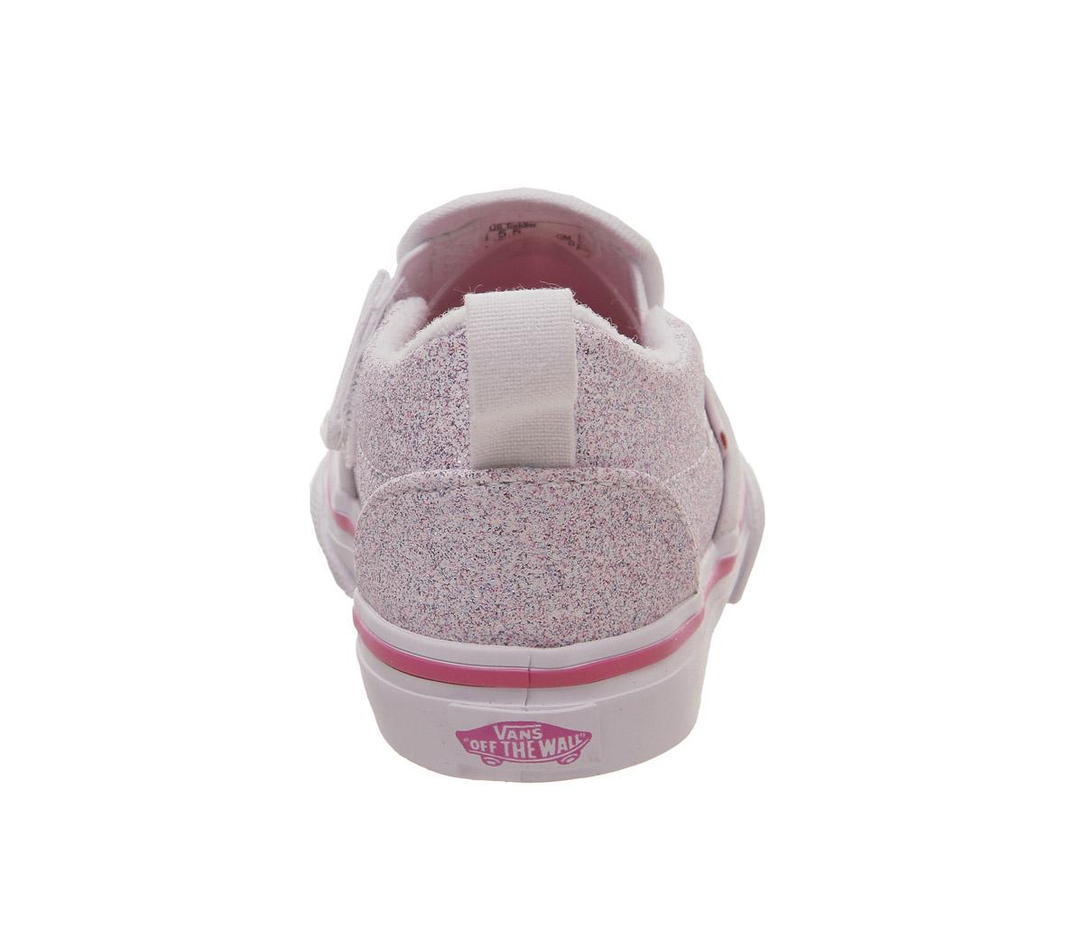04d8137db38 Kids Vans Classic Slip On Toddlers True White Carmine Rose Glitter ...
