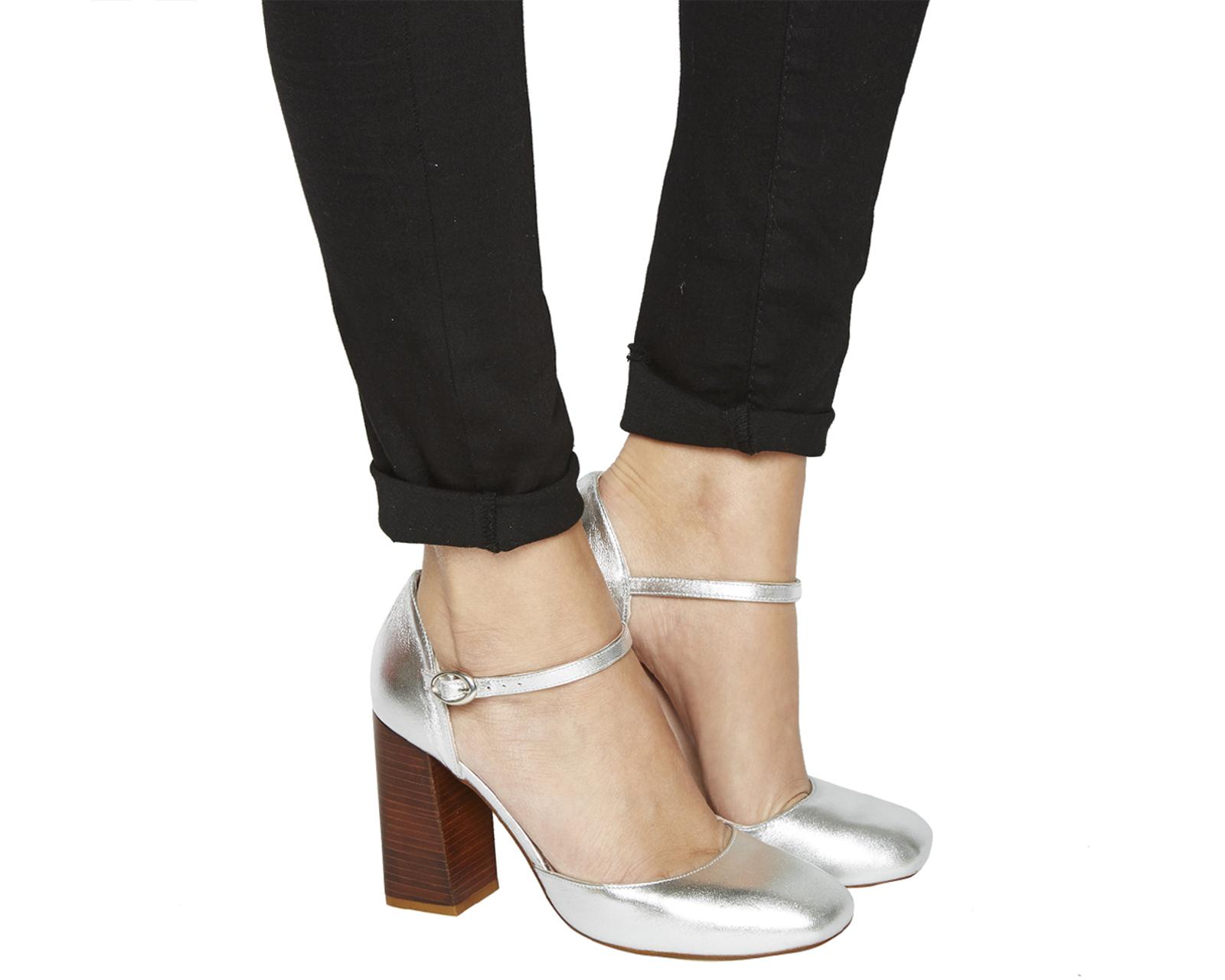 Womens Office Nibbles Mary Jane Block Heels Silver