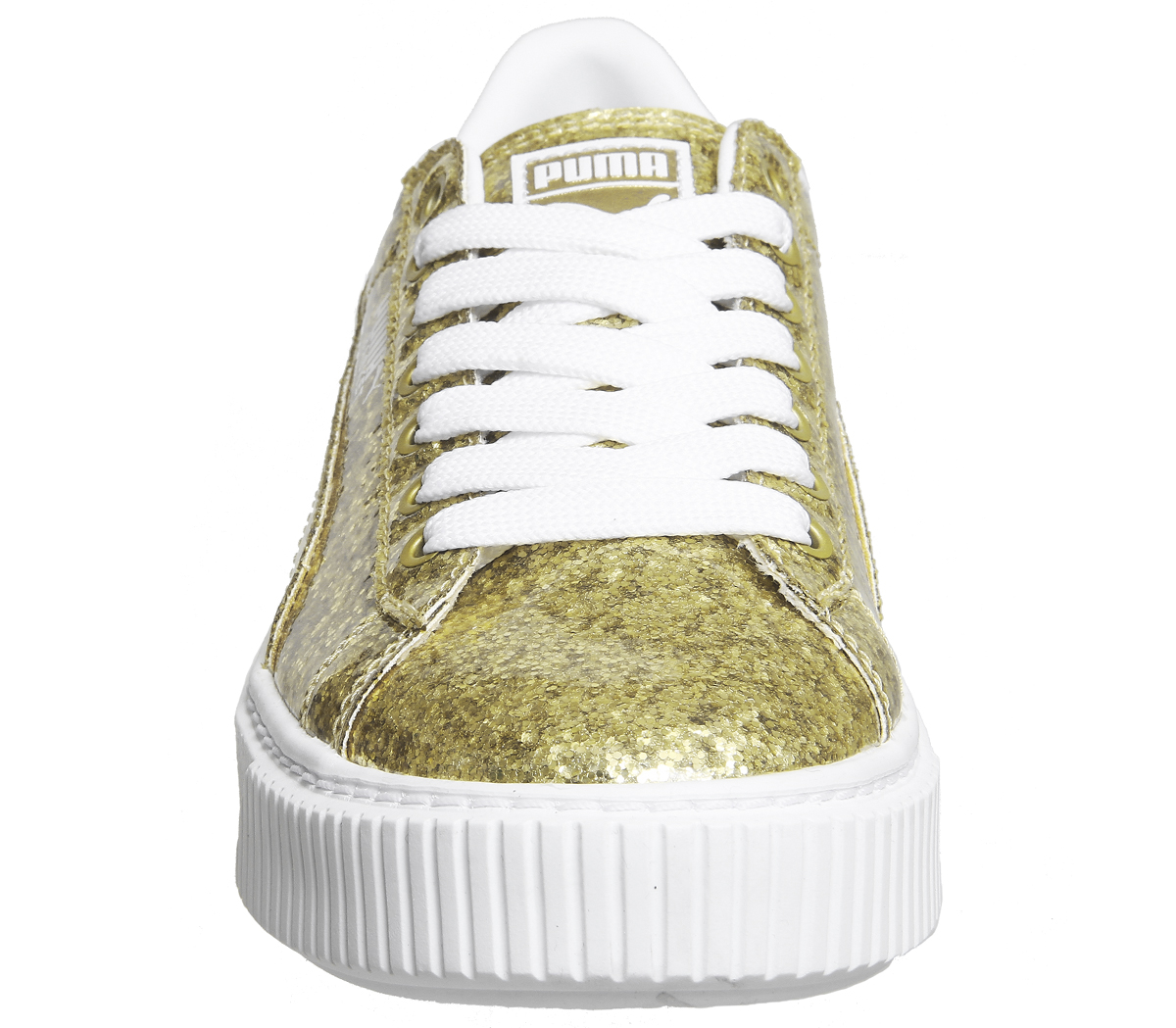 2bdcb708e23830 Womens Puma Basket Platform Trainers Gold Glitter White Trainers Shoes