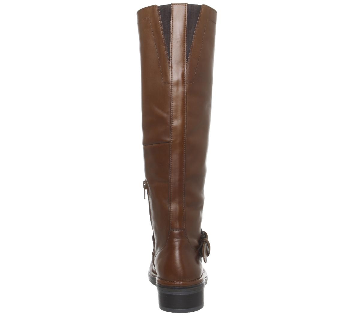 SENTINELLE Bureau de Womens Casual Kelly boucle genou Bottes en cuir marron