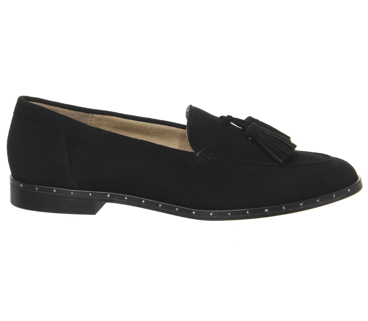 Retro Office Studded Loafers Tassel With Rand Flats Black Womens Suede FRvqUU