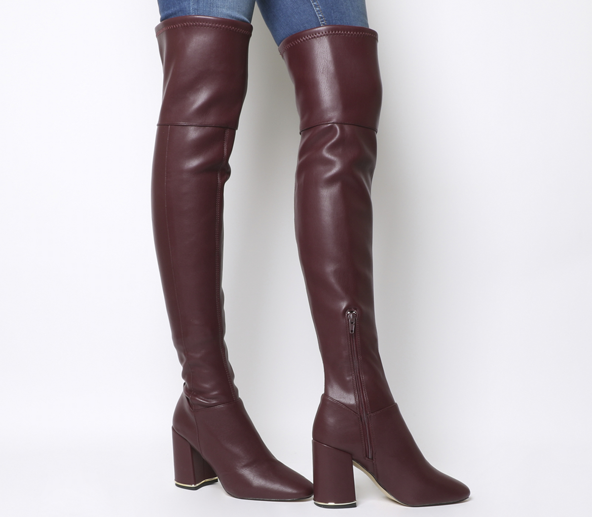 browse latest collections how to orders durable service Details about Womens Office Katch Block Heel Over The Knee Boots Burgundy  Boots