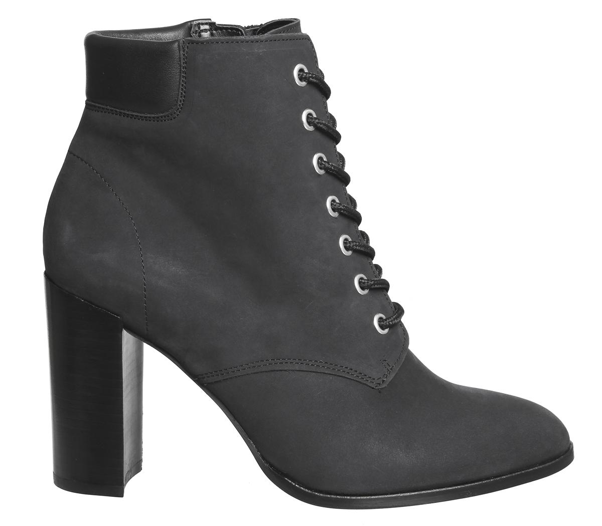 Womens Office Heel Attitude Lace Up Block Heel Office Boots BLACK NUBUCK Boots 7018cf