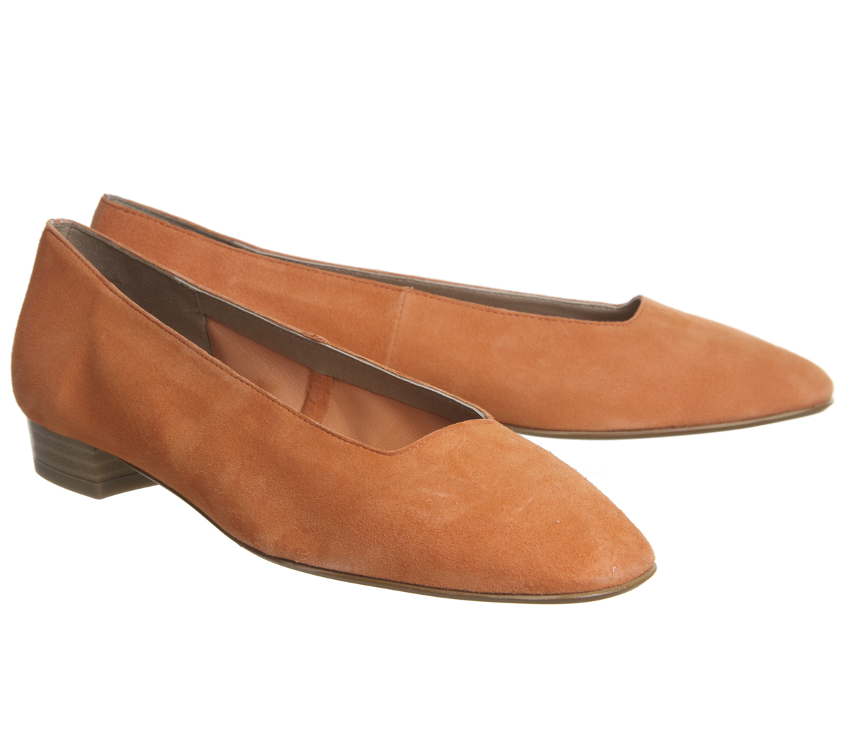 Womens Office Fairy Square Toe Flats Ballet Flats ORANGE SUEDE Flats Toe 6ef80a