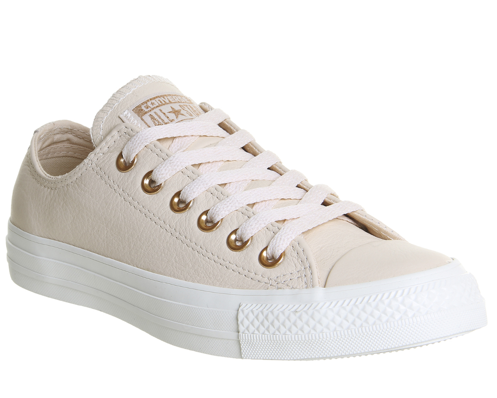 DONNA CONVERSE ALL STAR BASSA IN PELLE Egret PASTELLO ROSA MARRONE Blush ORO