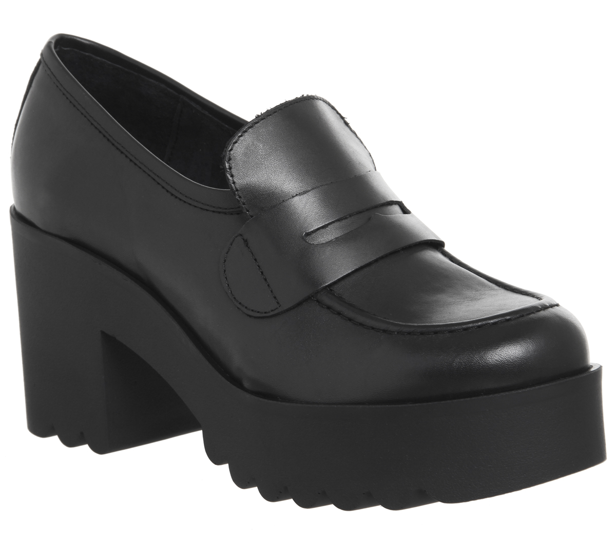 Womens Office Monster 90 S Chunky Loafers Black Leather Heels