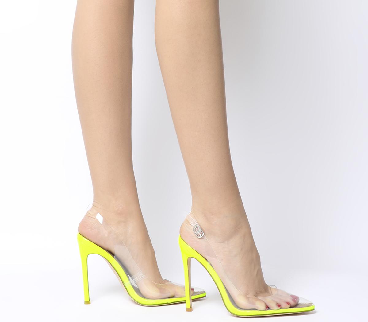 zapatos deportivos 68dee 0b074 Detalles de Mujer Zapatos De Tacón ego Sin Costuras Transparente Correa  Tribunal Tacones Amarillo Neón- ver título original