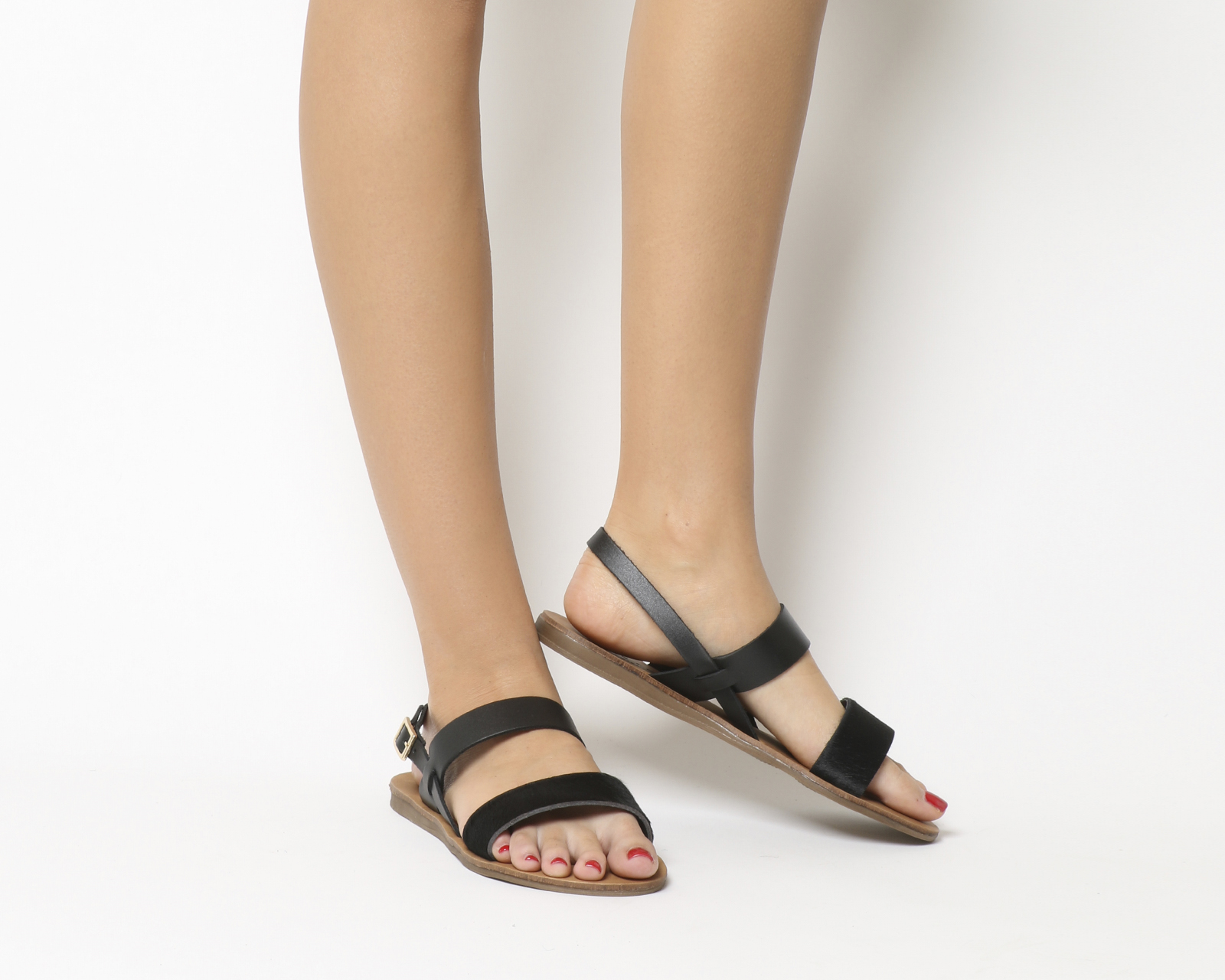 67f56b0a09cb CENTINELA Mujer oficina miel Sling Back sandalias cuero negro PONY con  arena NATURAL único